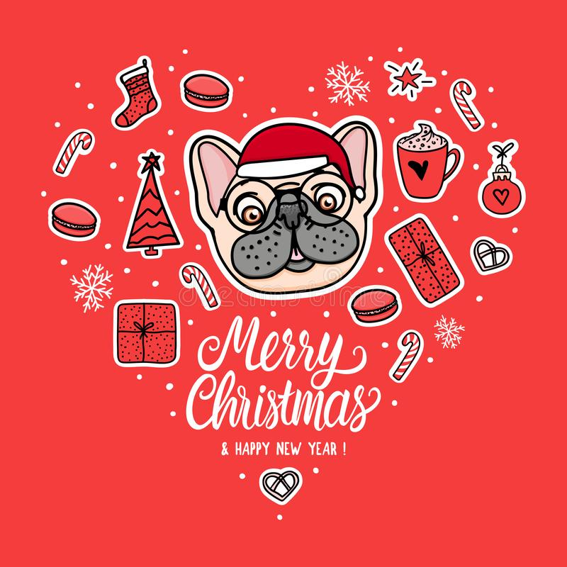 Card Dog in Christmas santa hat with glasses. Lettering and Vector Illustration holiday design. French bulldog hand drawn stickers stock illustration