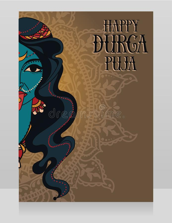 Card for Durga Puja, poster with portrait of indian goddess Kali. Vector illustration vector illustration