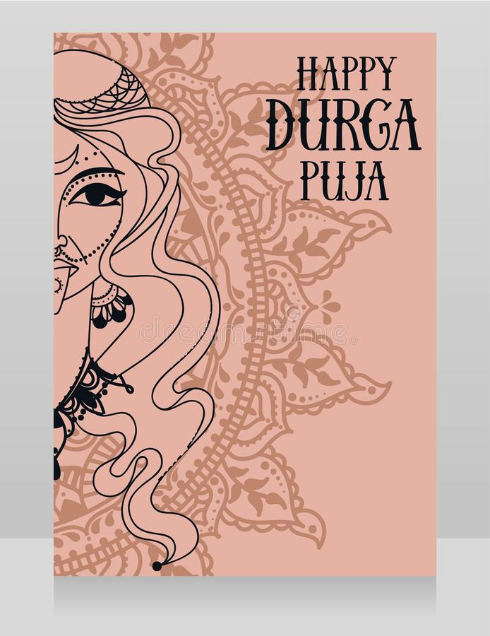 Card for Durga Puja, poster with portrait of indian goddess Kali. Vector illustration royalty free illustration