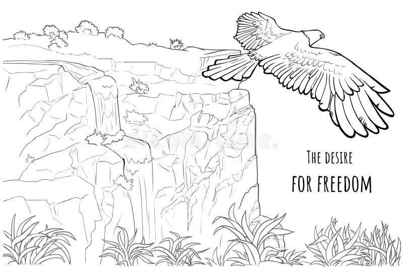 Card Eagle med text - lusten för frihet royaltyfri illustrationer