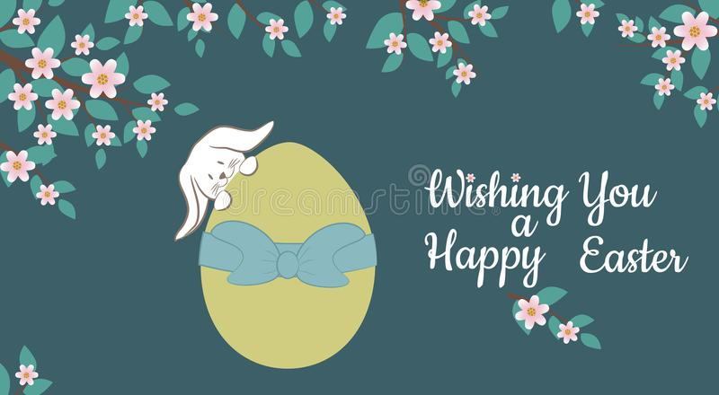 Card with Easter Bunny and Colorful decorative Egg.Vector Illustration. stock photo