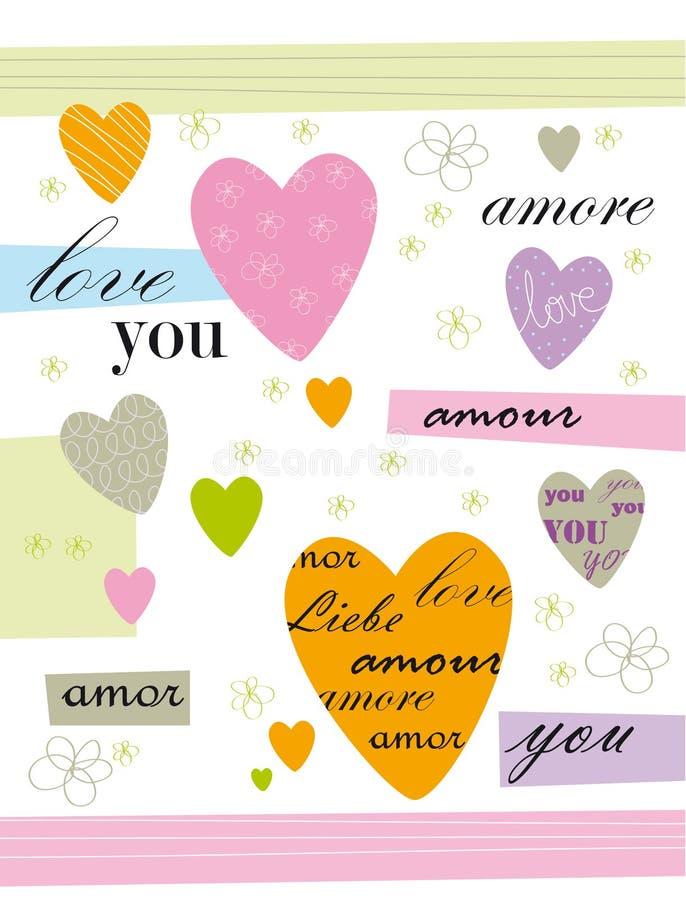 card förälskelse vektor illustrationer
