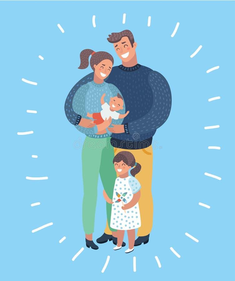 Card för familjemedlemillustration royaltyfri illustrationer