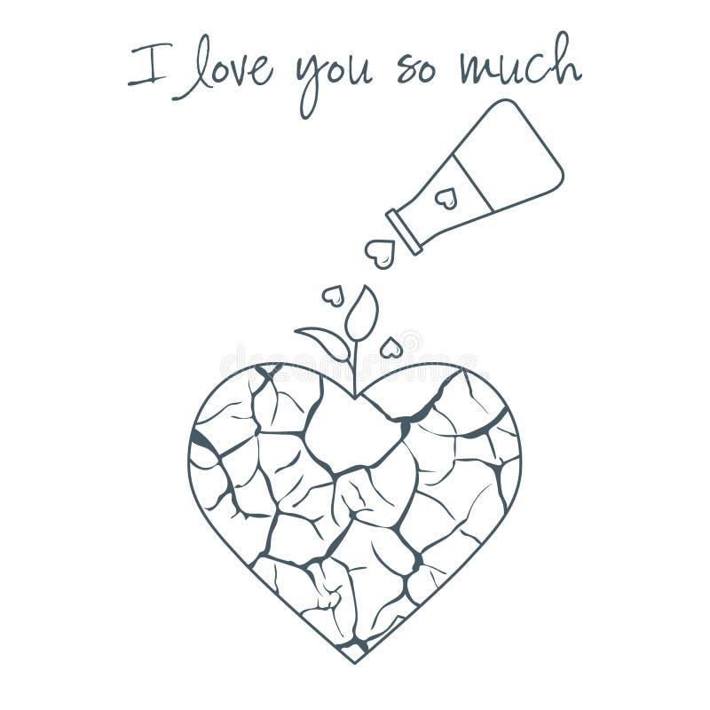 card för hälsningsillustration s för dagen eps10 vektorn för valentinen Bruten hjärta \ 's-hopp royaltyfri illustrationer