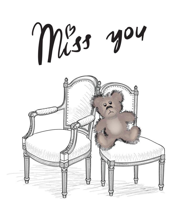 card för hälsningsillustration s för dagen eps10 vektorn för valentinen Miss dig kortet med björnen royaltyfri illustrationer