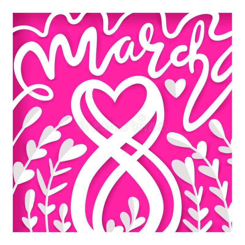 Card för 8 kvinnors för mars dag Internationell lycklig dag för kvinna` s royaltyfri illustrationer