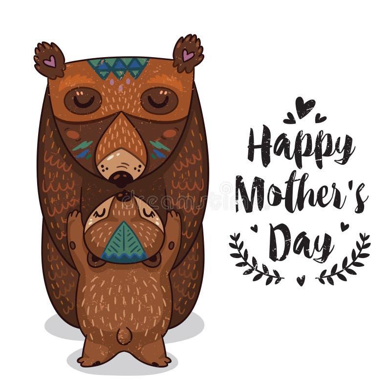 Card för moderdag med björnar stock illustrationer