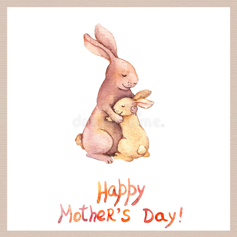 Card för moderdag med det gulliga djuret - fostra kanin omfamnar hennes förtjusande unge Aquarellekonst stock illustrationer