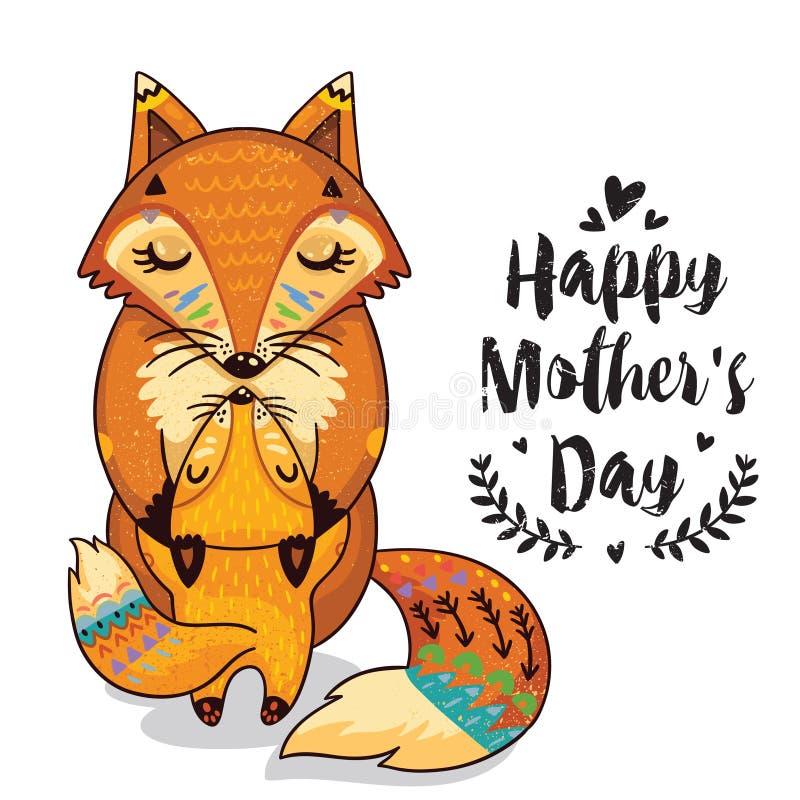 Card för moderdag med rävar vektor illustrationer