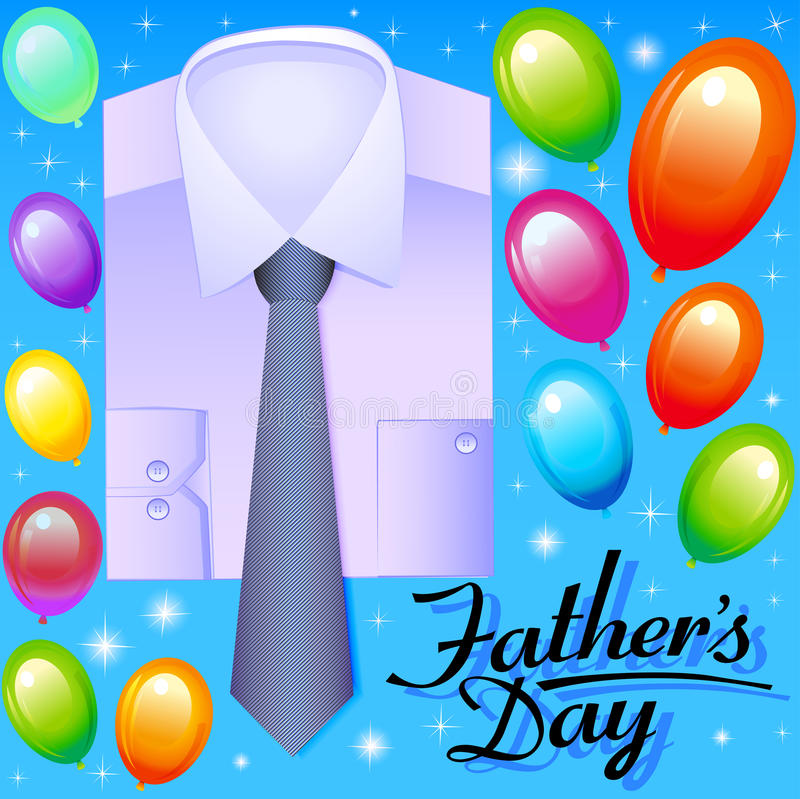 card for father's day with balloons shirt and tie royalty free illustration