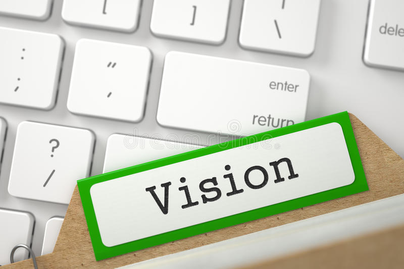 Card File with Vision. 3D. stock photo