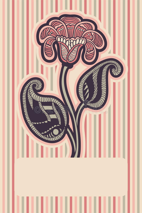 Card with floral design. Floral design in soft pink colors for invitation, greeting card, cover vector illustration
