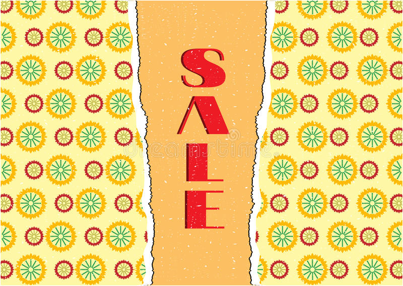 Card with floral pattern, text sale stock illustration