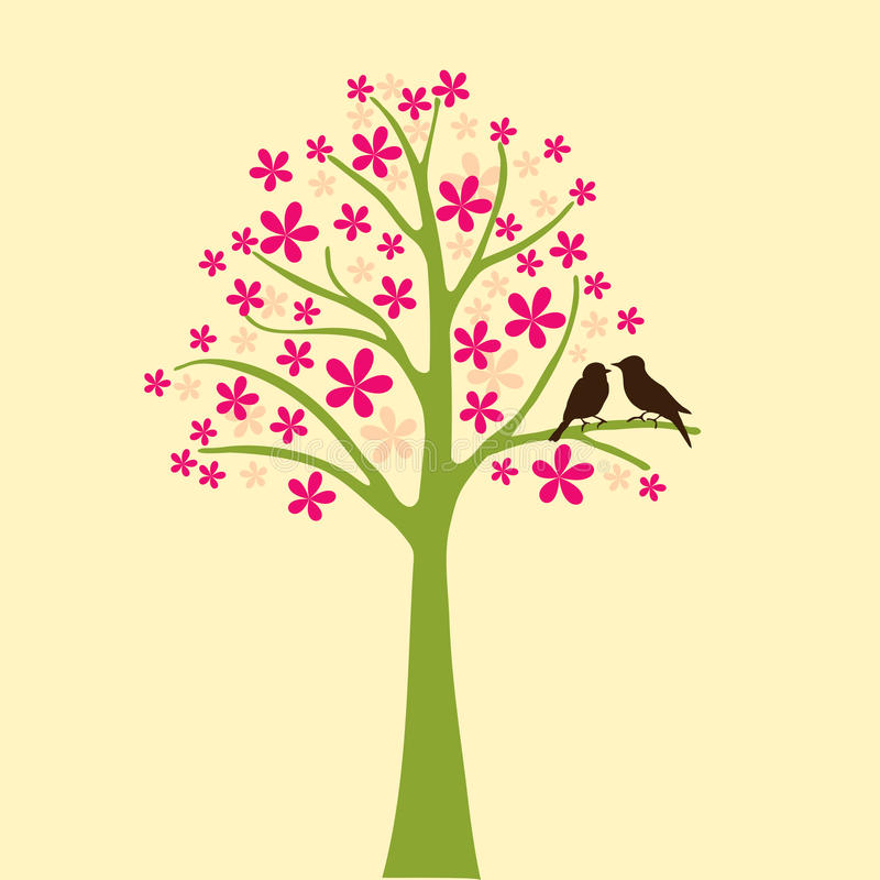 Card with floral tree and love bird vector illustration