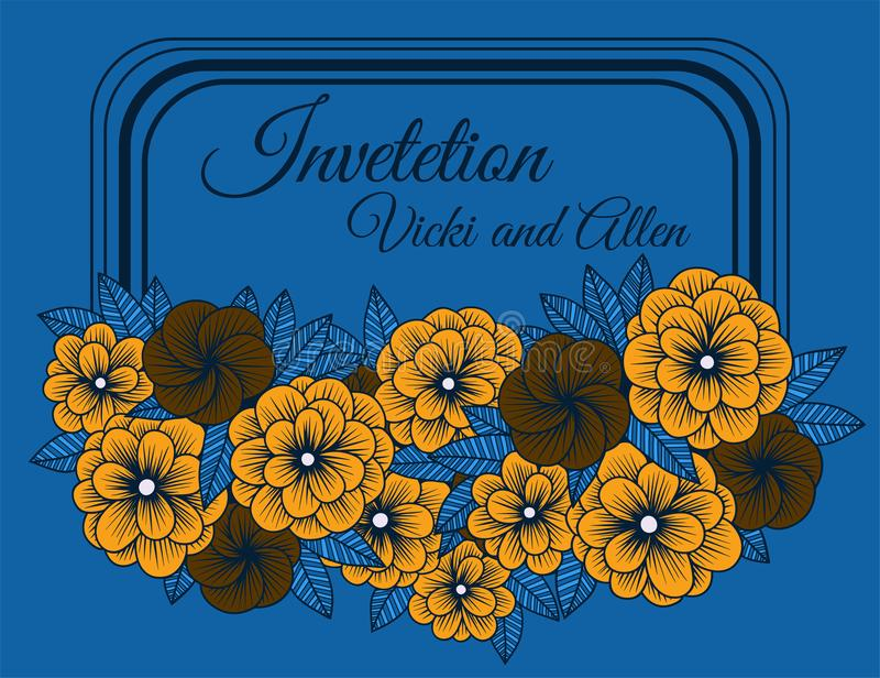 Card with flowers in country style stock illustration