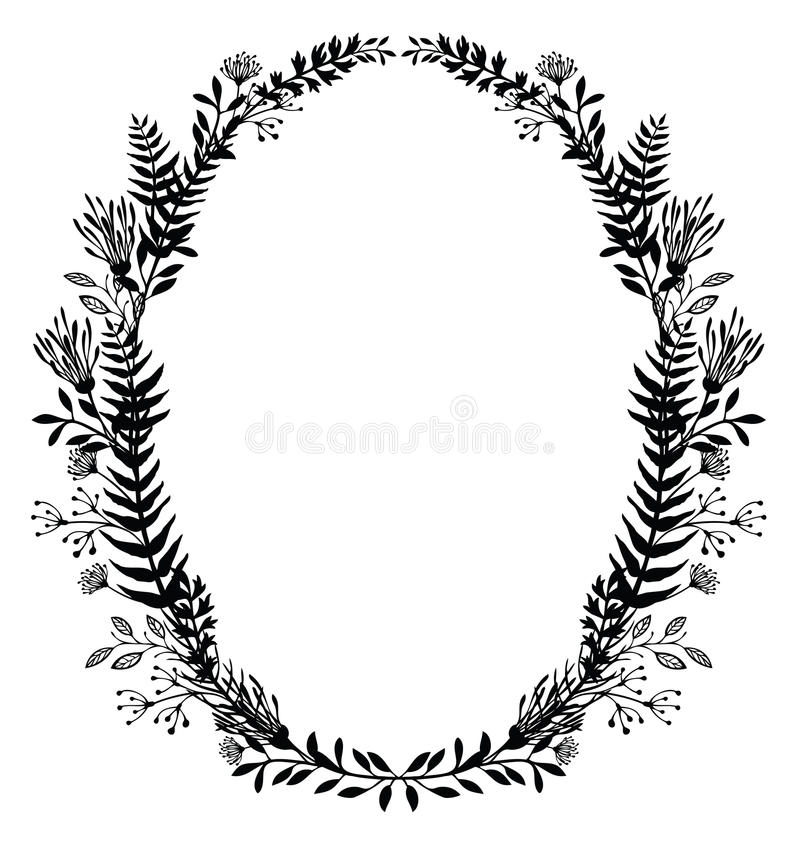 Card with frame of flowers and ferns vector illustration