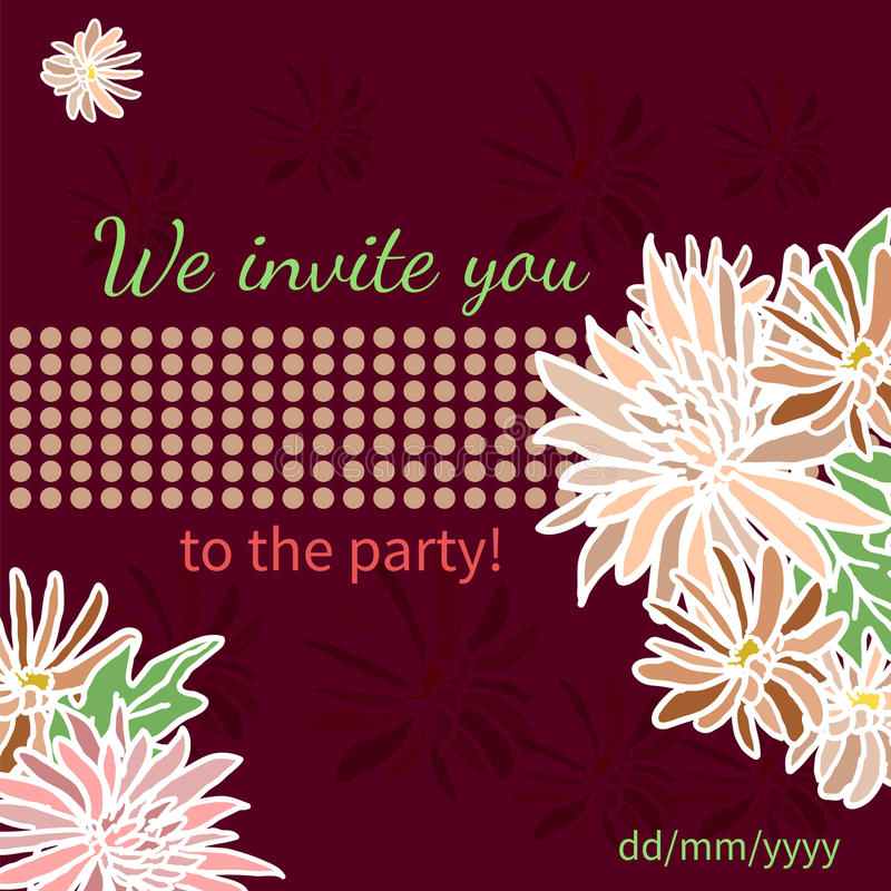 Card with fresh flowers invitation to a great moment. For your design stock illustration