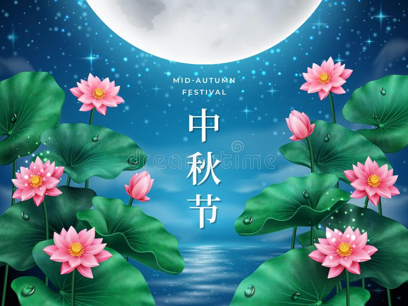 Full moon with lotus for mid autumn festival. Card with full moon over river with lotus for mid autumn festival. China letters calligraphy for mid-autumn or vector illustration