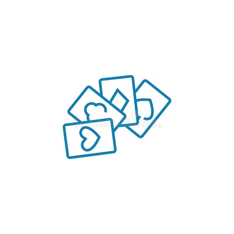 Card games linear icon concept. Card games line vector sign, symbol, illustration. royalty free illustration