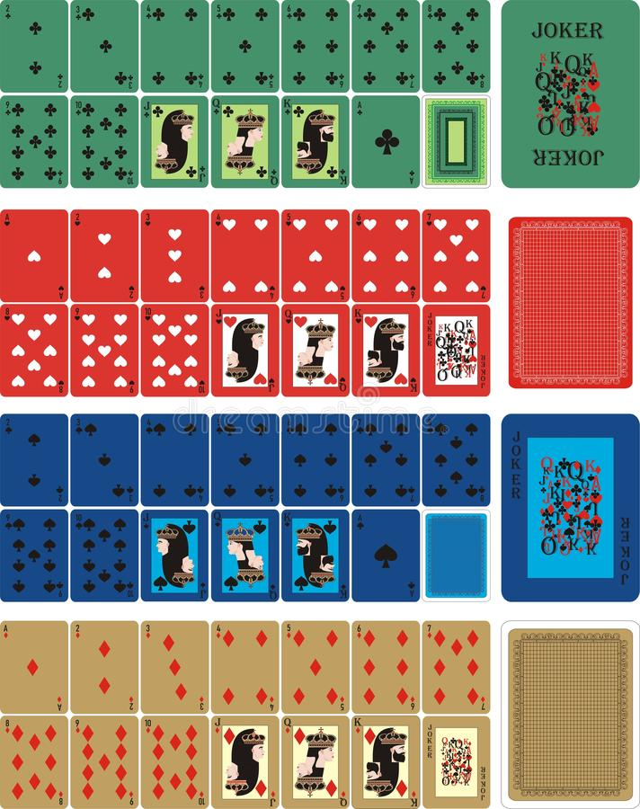 Playing COLOR cards for RUMMU. Card games - a set of cards for the game of remmy, poker, preference, etc. with a joker and back vector illustration