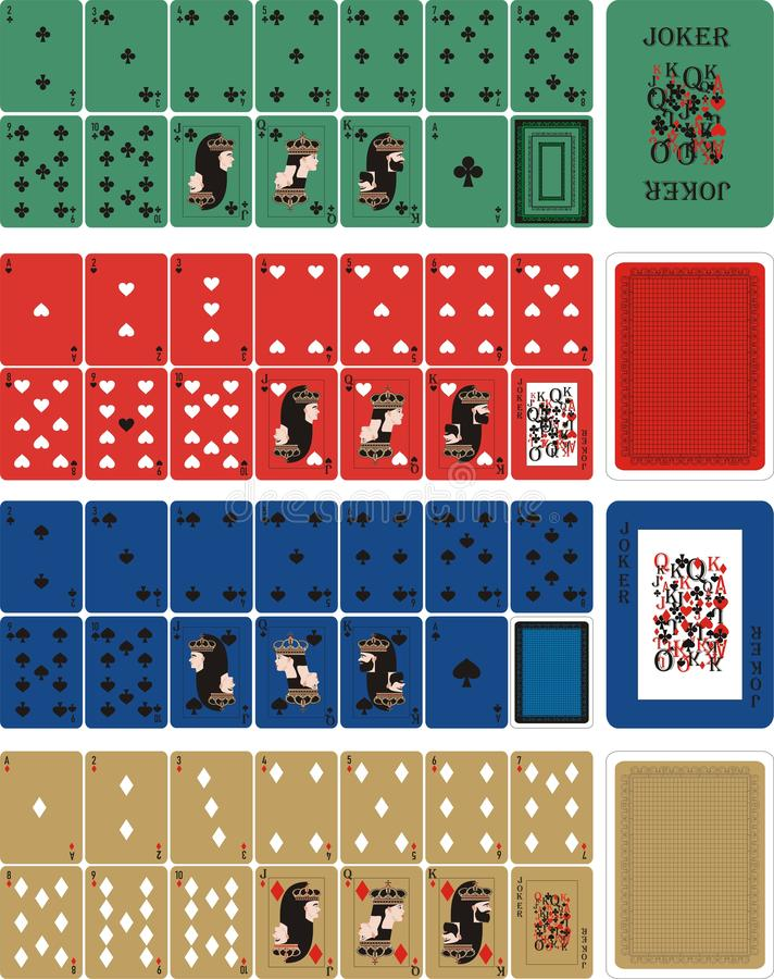 Playing COLOR cards for RUMMU 3. Card games - a set of cards for the game of remmy, poker, preference, etc. with a joker and back stock illustration