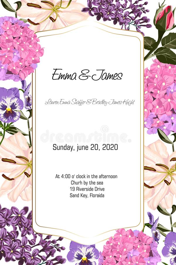 Card with garden flowers: roses, lilies, hydrangea, watercolor style, can be used as invitation card. royalty free illustration