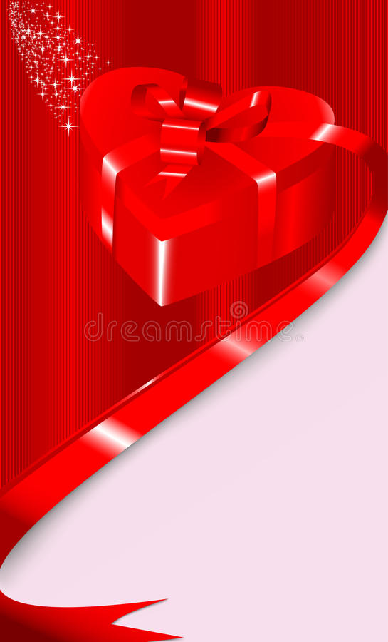 Card With A Gift Box In A Shape Of Heart Royalty Free Stock Photo
