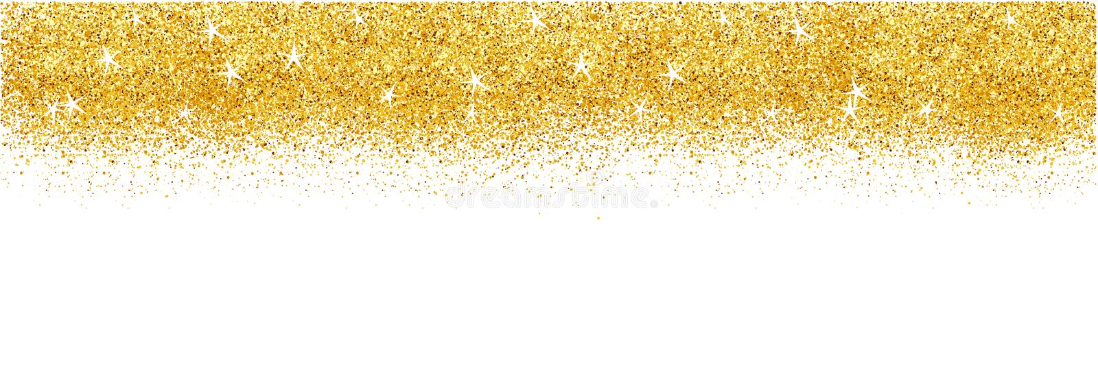 Card with gold glitter background. Shiny sparkles for advertising.  stock photo