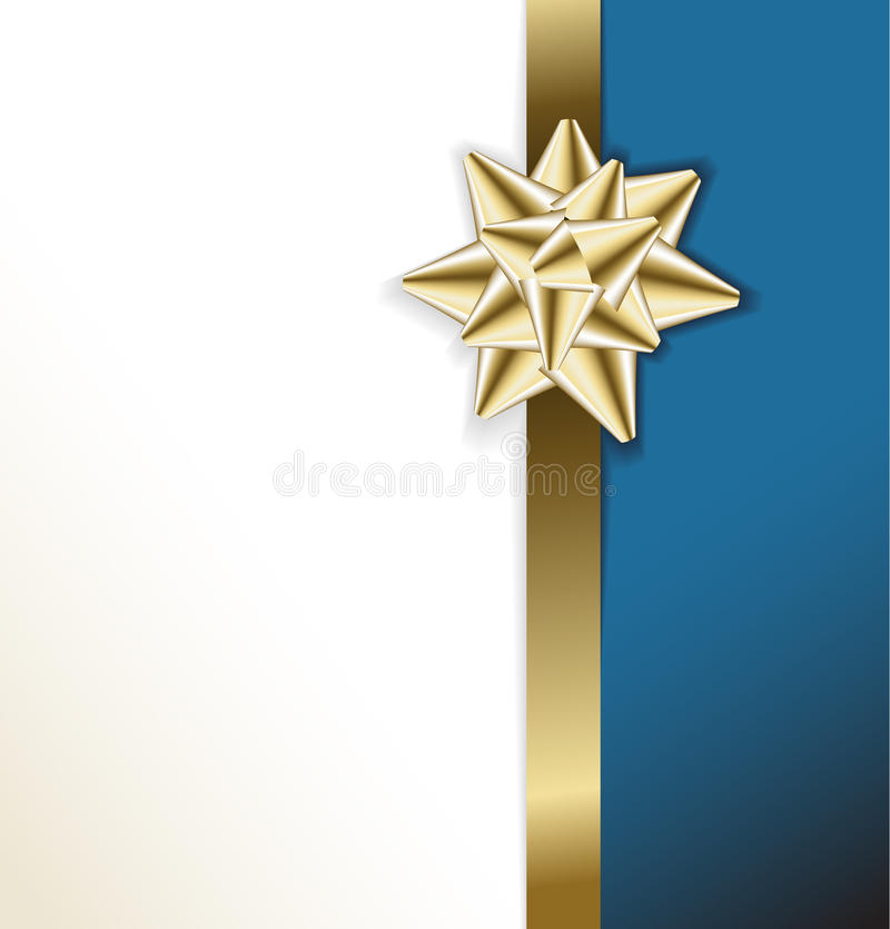 Card With Golden Bow On A Ribbon Royalty Free Stock Images