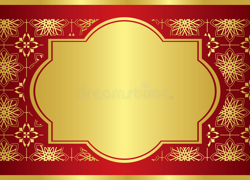 Card With Golden Center Frame - Vector Royalty Free Stock Photo