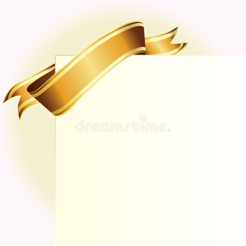 Download Card and golden ribbon stock vector. Image of formal - 16394779