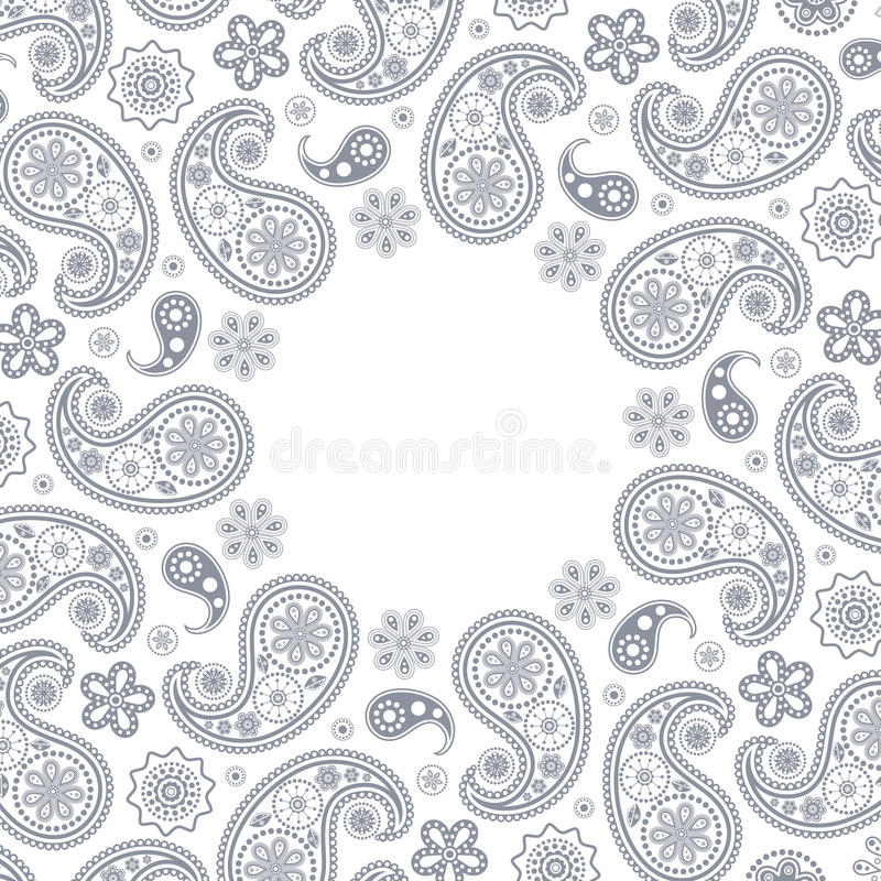 Card with gray paisley stock illustration