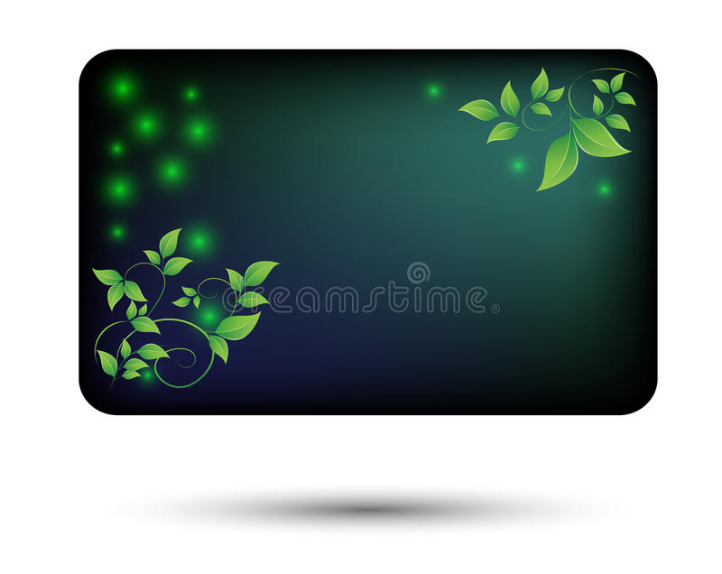 Card-with-green-leaves vector illustration