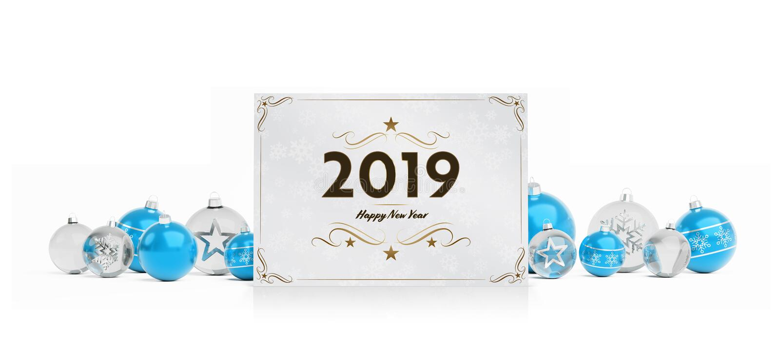 2019 card greetings laying on isolated blue white baubles 3D rendering royalty free illustration