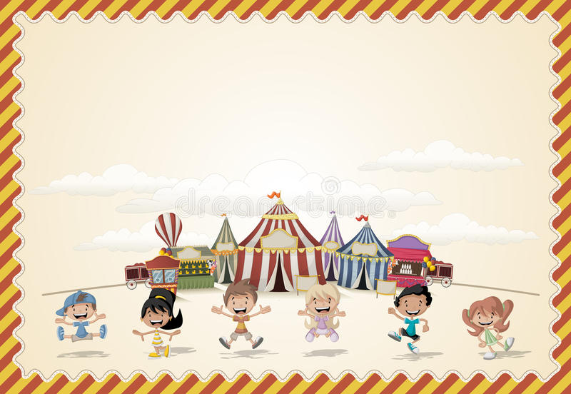Card with a group of happy cartoon children royalty free illustration