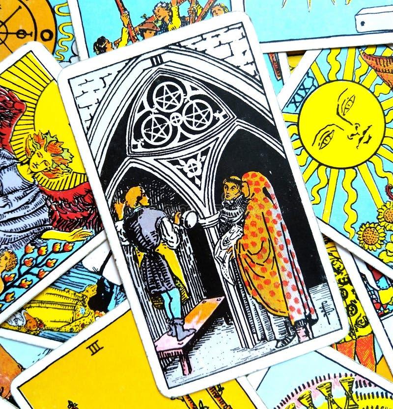 6 Six Of Pentacles Tarot Card Stock Image - Image of