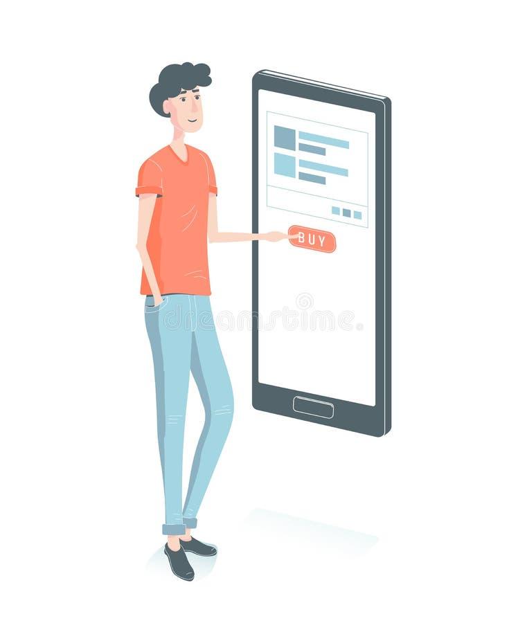 card grund shopping för dof-fokushanden online mycket Grabbköp till och med mobiltelefonpressen knappen m--commerc och e-kommers  vektor illustrationer