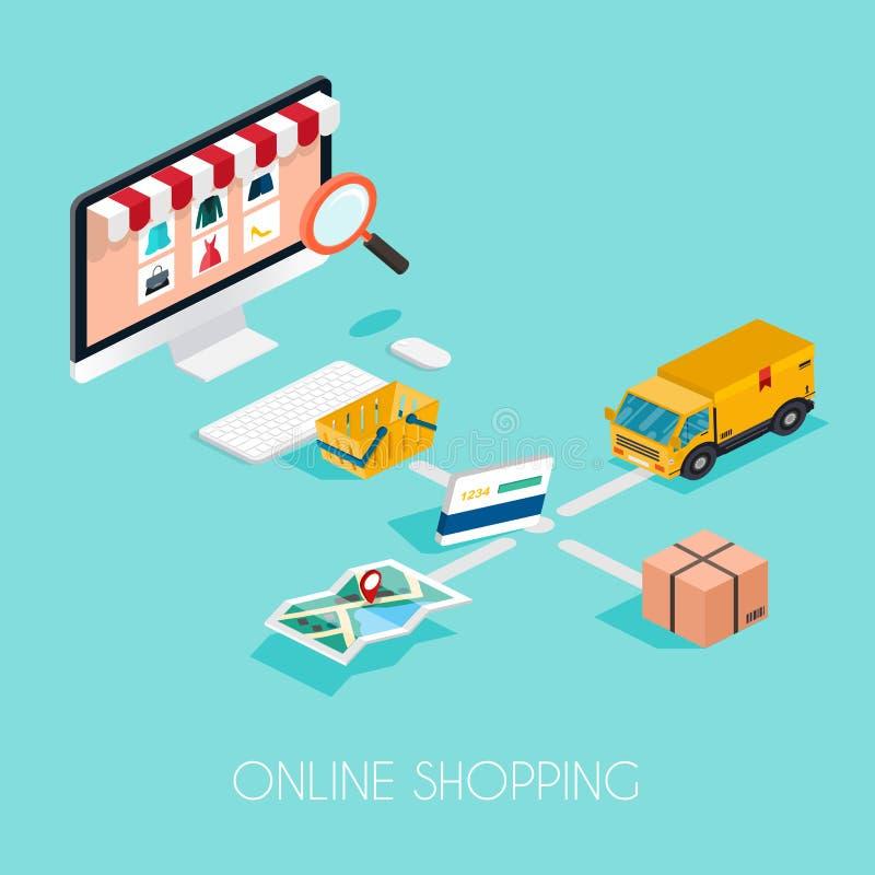 card grund shopping för dof-fokushanden online mycket Isometrisk e-kommers, elektronisk affär, paym vektor illustrationer