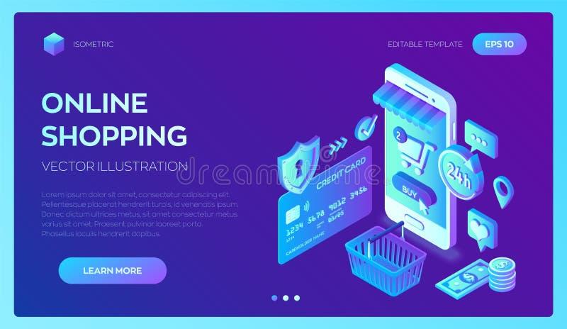 card grund shopping för dof-fokushanden online mycket isometriskt online-lager 3D Shoppa direktanslutet på website- eller mobilap royaltyfri illustrationer