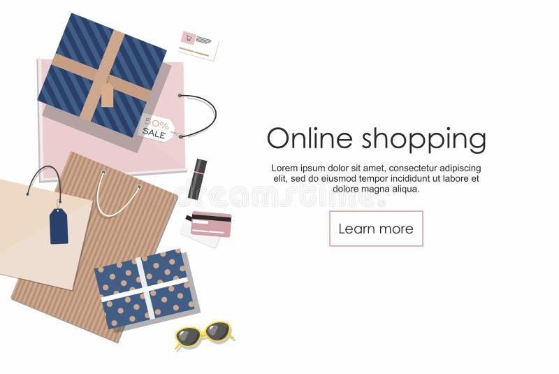 card grund shopping för dof-fokushanden online mycket Shoppingpåsar och andra som isoleras på vit bakgrund vektor illustrationer