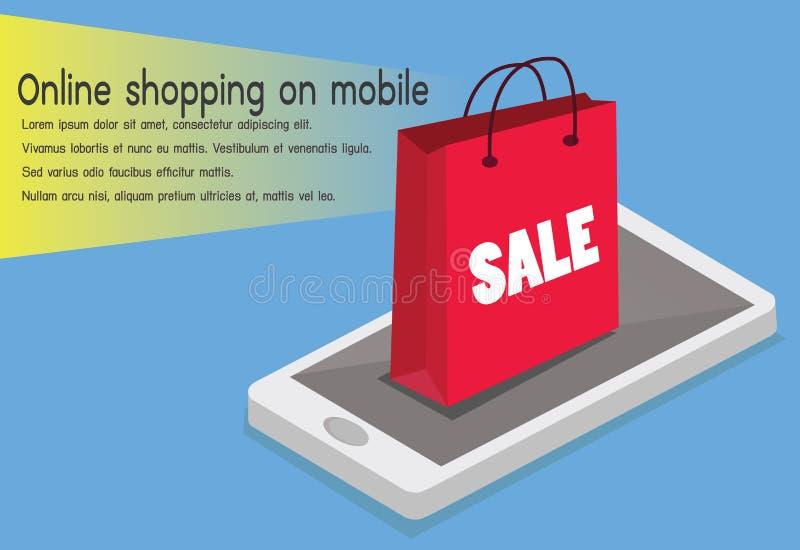 card grund shopping för dof-fokushanden online mycket Smartphone vände in i internet shoppar Begrepp av mobilen royaltyfri illustrationer