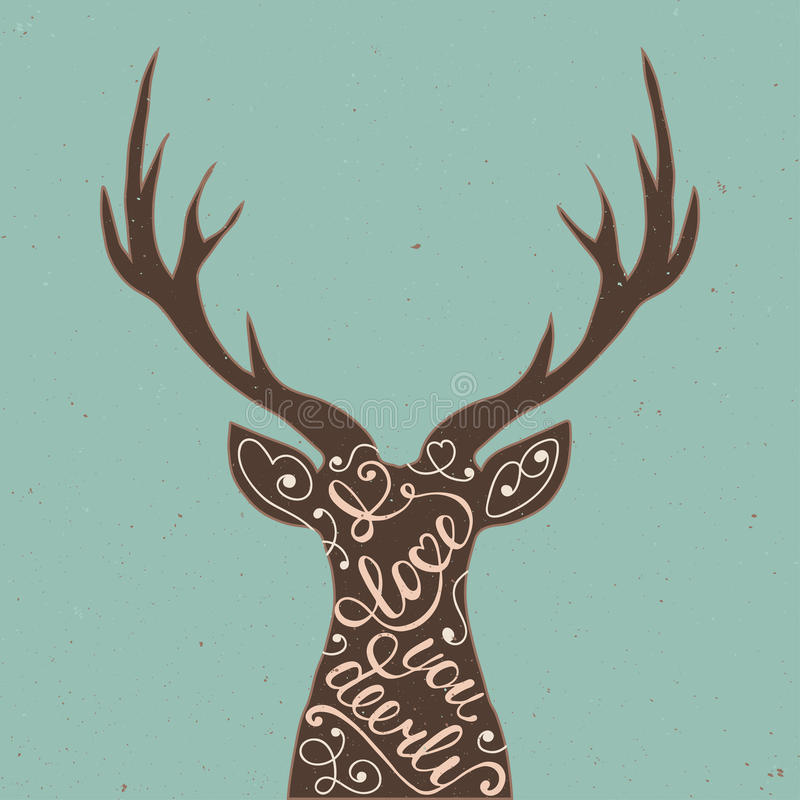 Card with hand drawn typography design element and deer for greeting cards, posters and print. I love you deerly on blue background in vintage style royalty free illustration