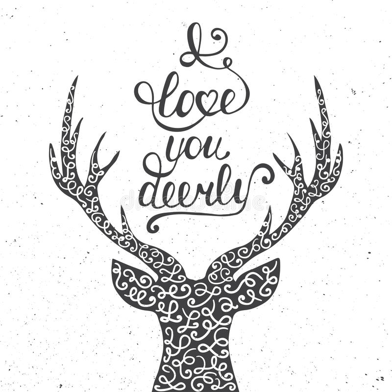 Card with hand drawn typography design element and deer. For greeting cards, posters and print. I love you deerly on dark background in vintage style vector illustration