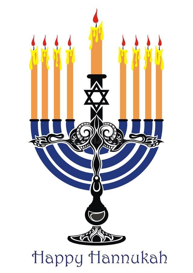 Card with Hanukkah Menorah stock illustration