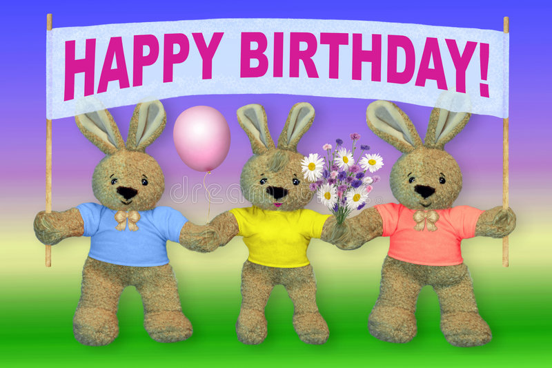 Card HAPPY BIRTHDAY!. The image on a multi-coloured background royalty free stock photo