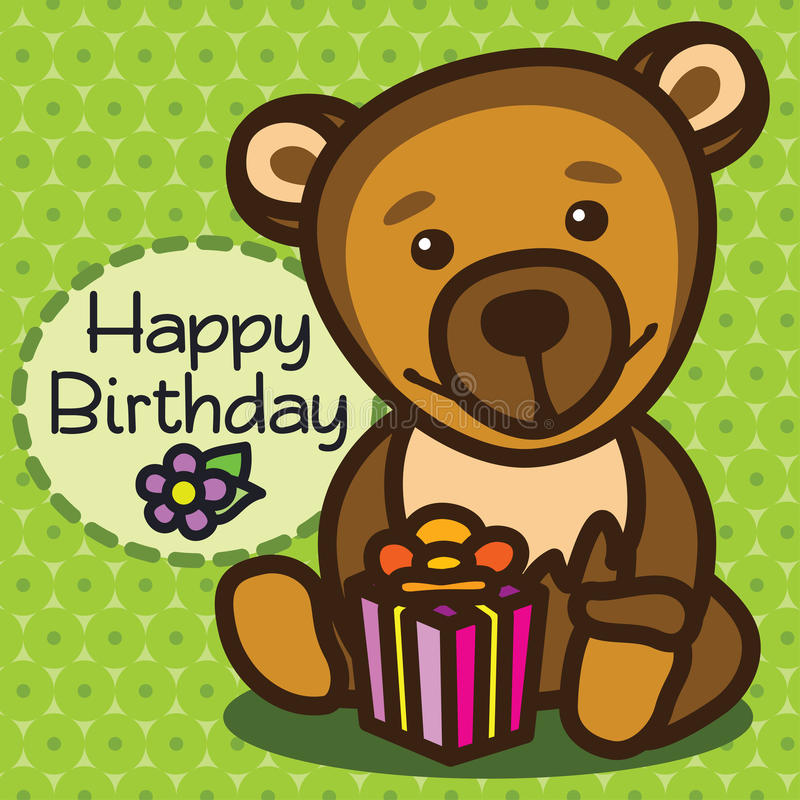 Card. Happy Birthday. Bear royalty free stock photos