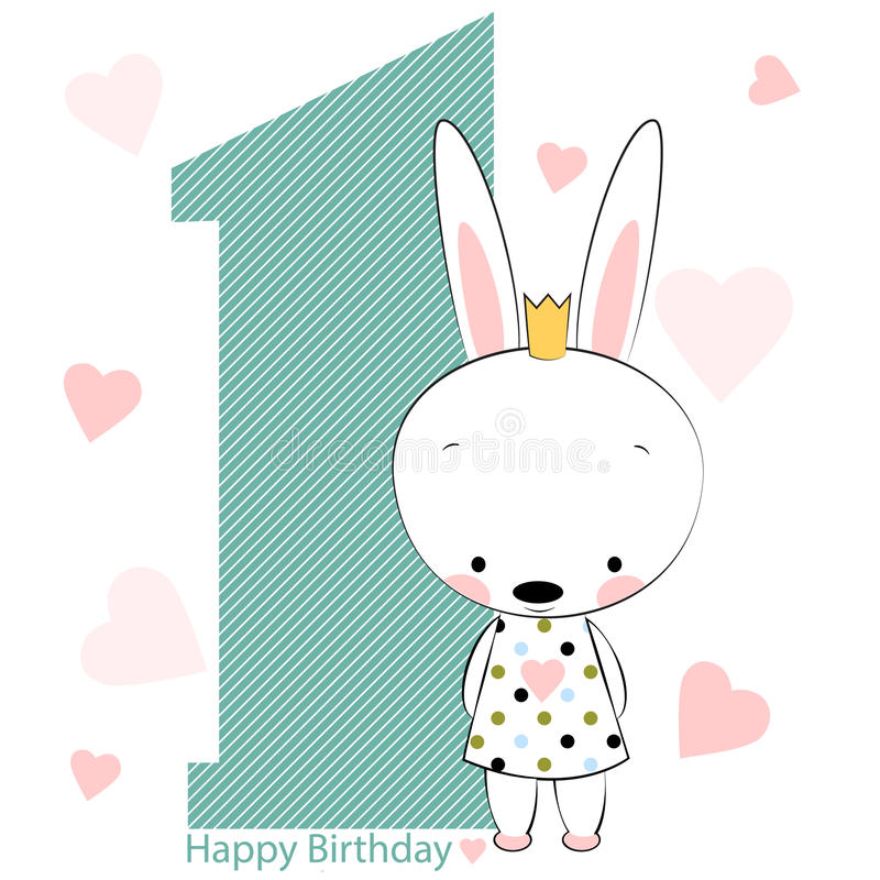 Card on happy birthday with bunny girl. vector illustration