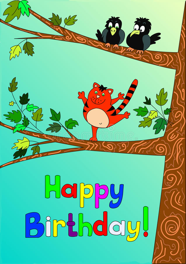 Card Happy Birthday from the Cat. A Card Happy Birthday from the Cat stock illustration