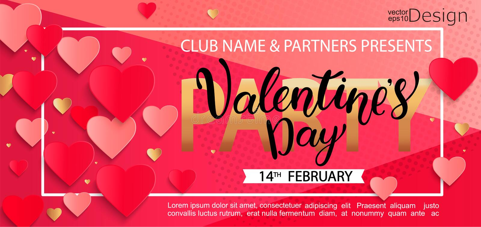 Card for happy Valentines day party. vector illustration