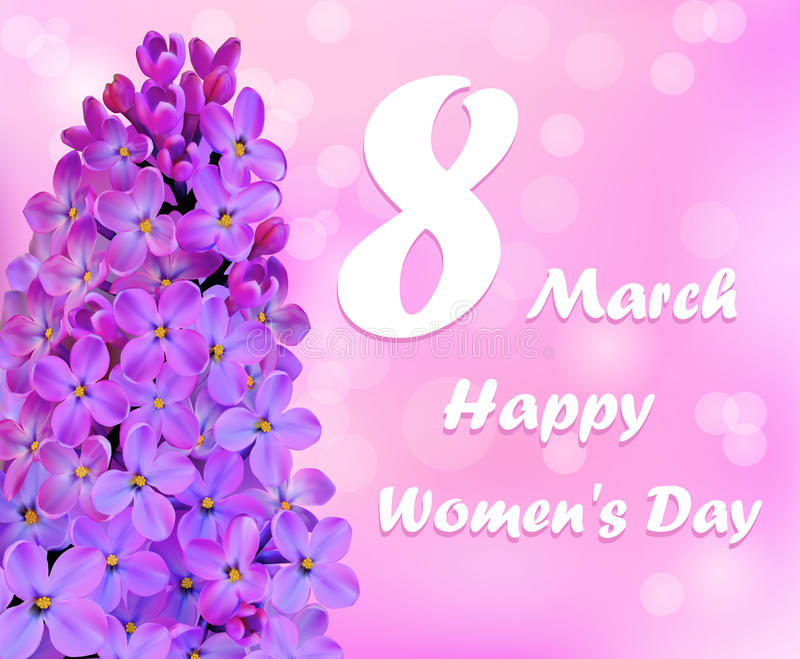 Card Happy Women`s Day with a flower stock illustration